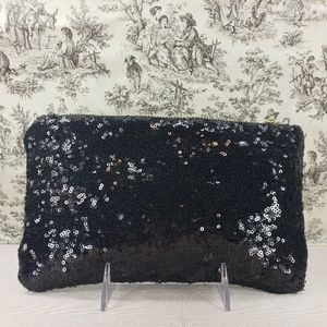 Handbags - Black Satin Zipper Clutch Bag